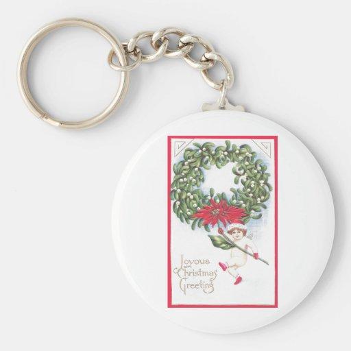 Cherub and Mistletoe & Poinsettia Wreath Keychain
