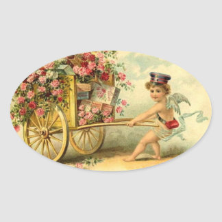 Cherub and Wagon Filled with Roses and Gifts Oval Sticker