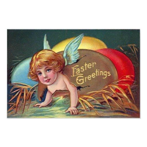 Cherub Angel Cupid Colored Painted Easter Egg Photo Art