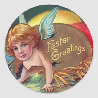 Cherub Angel Cupid Colored Painted Easter Egg Round Sticker
