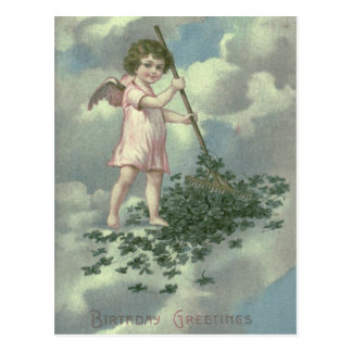 Cherub Angel Four Leaf Clover Rake Postcard