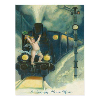 Cherub Angel Four Leaf Clover Train Postcard