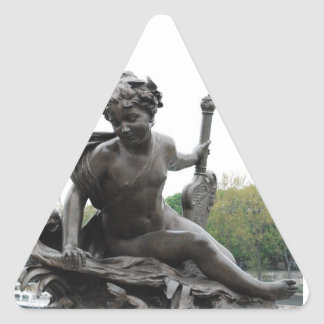 Cherub Angel Statue in Paris Triangle Sticker