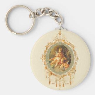 Cherub Angel Vintage French Design Basic Round Button Keychain