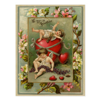 Cherub Angels and Hearts Vintage Reproduction Postcard