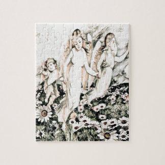 Cherub Angels in Flower Field Jigsaw Puzzle