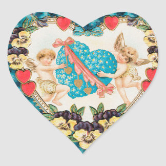 Cherub Angels Heart Stickers