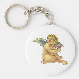 cherub basic round button keychain