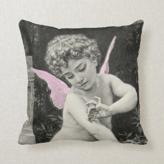 Cherub Bouguereau Boy Butterfly Fairy Engraving Throw Pillow
