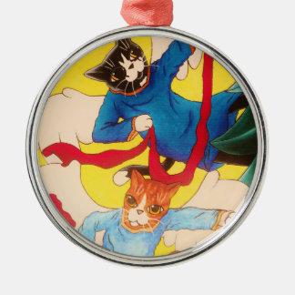 Cherub Cats Metal Ornament