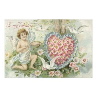 Cherub Cupid Bow Arrow Heart Dove Flower Photo Art