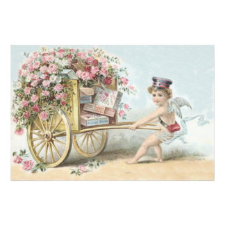 Cherub Cupid Mail Rose Candy Cart Photograph