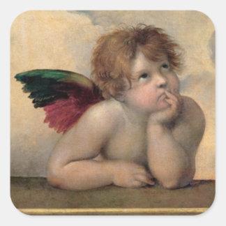 Cherub from Sistine Madonna by Raphael Square Stickers