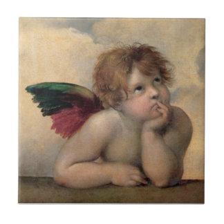 Cherub from Sistine Madonna by Raphael Tile
