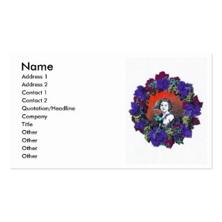 Cherub in grape wreath, red background business card templates