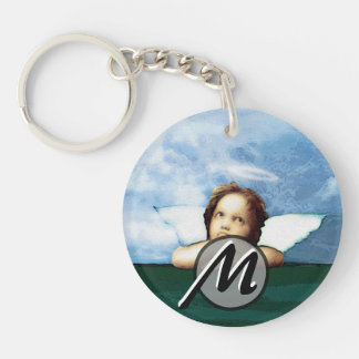 Cherub laying on the grass thinking Double-Sided round acrylic keychain
