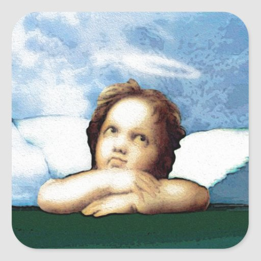 Cherub laying on the grass thinking stickers