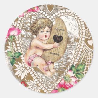 Cherub Playing Harp Illustration Round Sticker