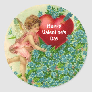Cherub with Blue Flowers and Huge Valentine Stickers