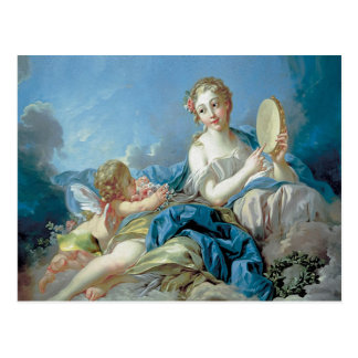 Cherub with flowers postcard