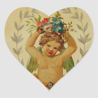 Cherub with Posies Heart Sticker