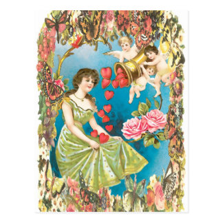 Cherubs and Hearts Postcard