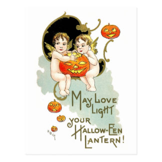 Cherubs and Jack-o-Lantern Postcard