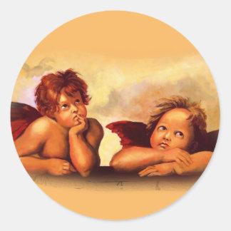 Cherubs, Angels, After Raphael: Original Artwork Classic Round Sticker