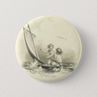 Cherubs - Angels on the Water Engraving 2 Inch Round Button