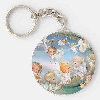 Cherubs Basic Round Button Keychain