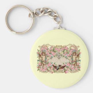 Cherubs & Bird Basic Round Button Keychain