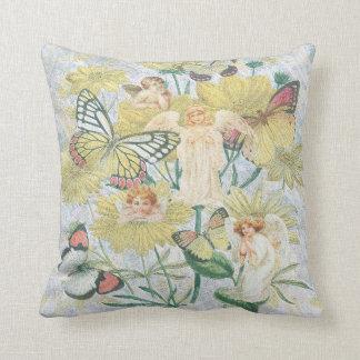 Cherubs, Butterflies and Flowers in Yellow Throw Pillow