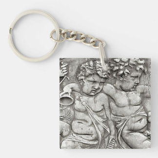 Cherubs Double-Sided Square Acrylic Keychain