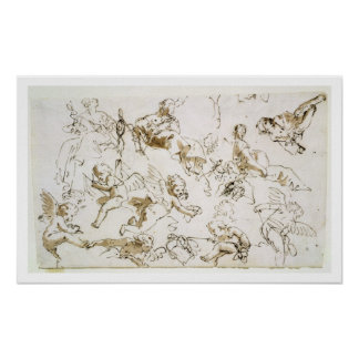 Cherubs, early 18th century (pen and ink and wash poster