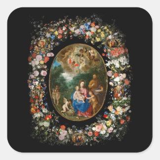 Cherubs Give Offerings to Christ Child Sticker