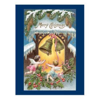 Cherubs Hanging Bells Vintage Christmas Postcard