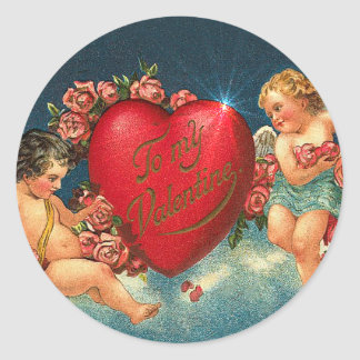 CHERUBS & HEARTS by SHARON SHARPE Classic Round Sticker