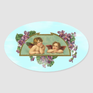 Cherubs Keeping Watch From Heaven Oval Sticker