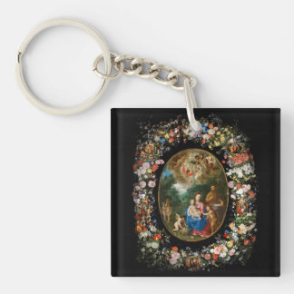 Cherubs Offer Gifts to Christ Child Acrylic Key Chain