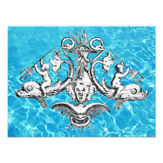 Cherubs Riding Dolphins with Tridents Art Photo