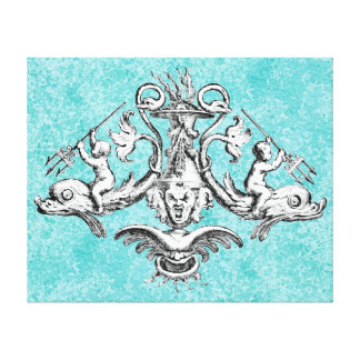 Cherubs Riding Dolphins with Tridents Canvas Print