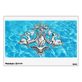 Cherubs Riding Dolphins with Tridents Wall Decal