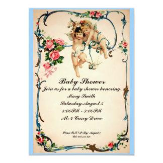 Cherubs with dove Baby Shower Invite