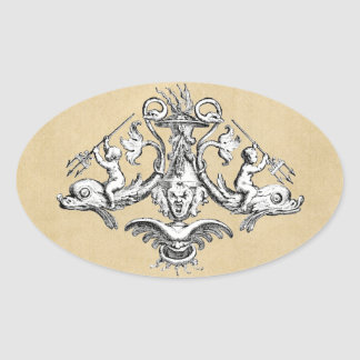 Cherubs with Tridents on Dolphins Oval Sticker