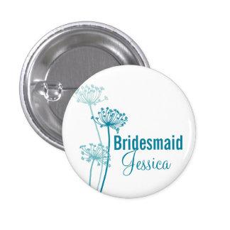 Chervil modern flower wedding pin / button