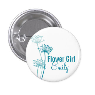 Chervil modern flower wedding pin / button