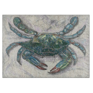 Chesapeake Bay Blue Crab Glass Cutting Board