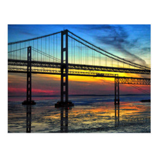 Chesapeake Bay Bridge Icy Sunset Silhouette Postcard