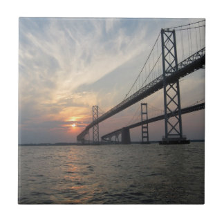 Chesapeake Bay Bridge Sunset Tile