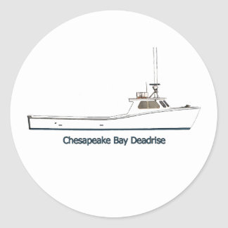 Chesapeake Bay Deadrise Boat (titled) Classic Round Sticker